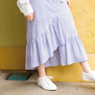 ラクちんでオシャレ。ロングスカート×ぺたんこ靴をスタイル良く見せるには?