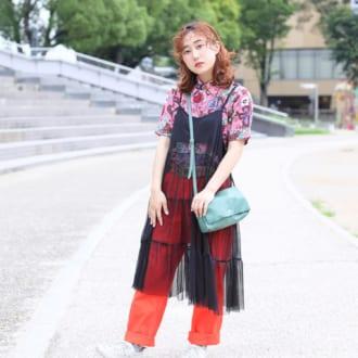【Today's merSNAP】チュールキャミワンピが中和役! 色×柄コーデがアツい♡