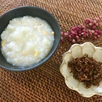 秋に向けて体を整えるレシピ ~山芋と松の実のおかゆ~