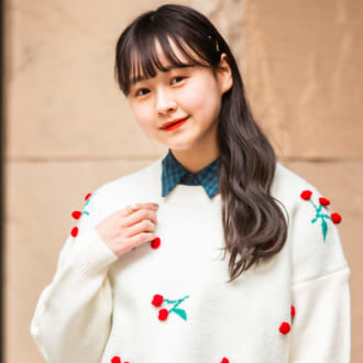 【merlot古着部 vol.7】さくらんぼニットが主役! ×チェック柄ワンピで作るレトロコーデが可愛すぎ♡