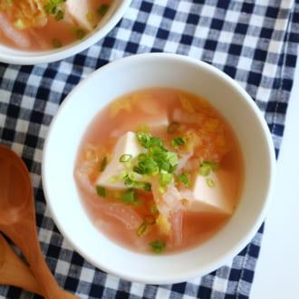 超カンタンなのに凝って見える! 白菜と豆腐のたらこスープレシピ