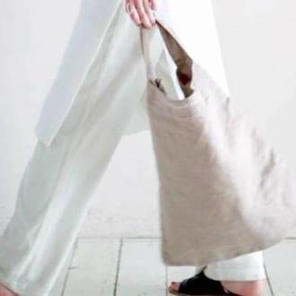 肩掛けにも手持ちにも◎ 大容量で使いやすいリネントートバッグ