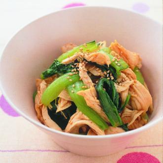 レンジで作る低糖質レシピ! 鶏むね肉の醤油あえ&白あえサラダ