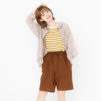 「GU」のメンズハーフパンツはシアーアイテムとの相性抜群! モデルが推す夏の着まわし3コーデ♡