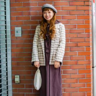 【Today's merSNAP】チェック柄をアクセントに♡ 古着女子の大人可愛いワンピースコーデ