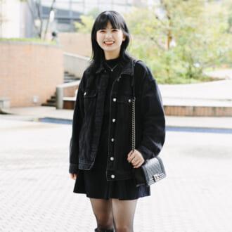 【merSNAP】ミニスカート×ロングブーツが今年流♡ メンズライクなオールブラックコーデ