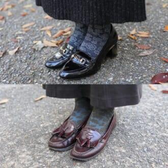 【足元SNAP】シンプル服に足すだけ。「ローファー×柄靴下」で抜け感のあるアクセントを!